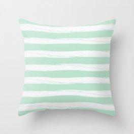 Mint Gross Stripes No.2 Throw Pillow