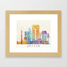 Jeddah landmarks watercolor poster Framed Art Print