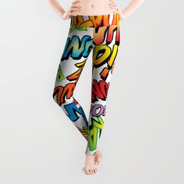 Comic Book Pop Art Modern Cool Typographic Pattern  Leggings