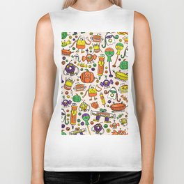 Monster Halloween Candy Bots in Orange, Green, & Purple  // Fall Holiday Themed Candy Robots Biker Tank
