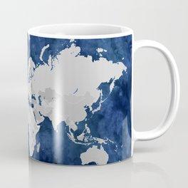 Dark blue watercolor and grey world map Coffee Mug