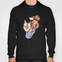 Smiling Red Fox in Blue Socks Hoody