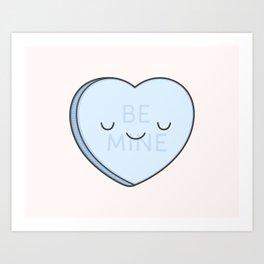 Blue Sweet Candy Heart Art Print
