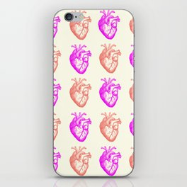 Anatomic hearts print (coral & violet) iPhone Skin