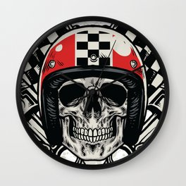 bikers skull in hand drawing style Wall Clock