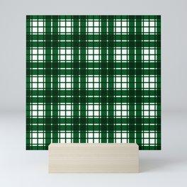 Green and White Gingham Plaid Design Mini Art Print