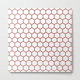 Honeycomb (Maroon & White Pattern) Metal Print