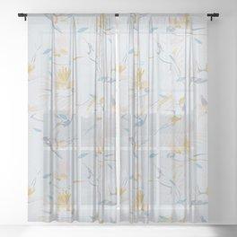 Vintage Tropicalia / Birds and Plants Sheer Curtain