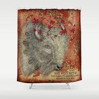 rare Shower Curtains featuring Rare White Buffalo by Vulpine Forest