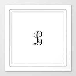 Monogram Letter L in Black and White Tripple Line Canvas Print
