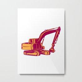 Mechanical Digger Excavator Woodcut Metal Print
