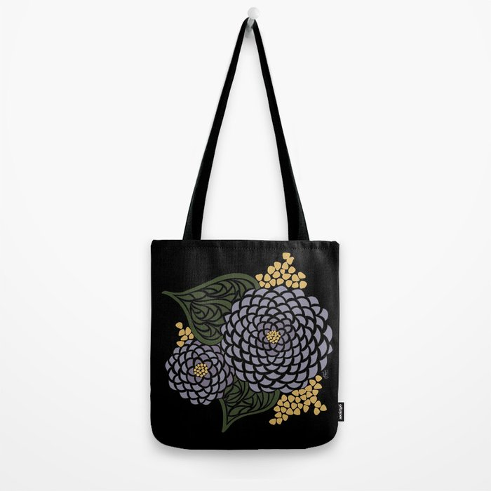 Dark Geometric Flower Tote Bag