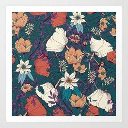 Botanical pattern 008 Art Print