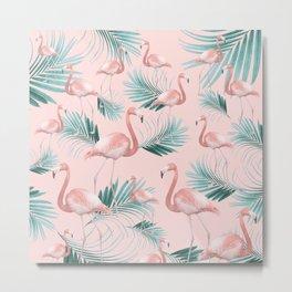 Blush Flamingo Palm Vibes #1 #pastel #tropical #decor #art #society6 Metal Print