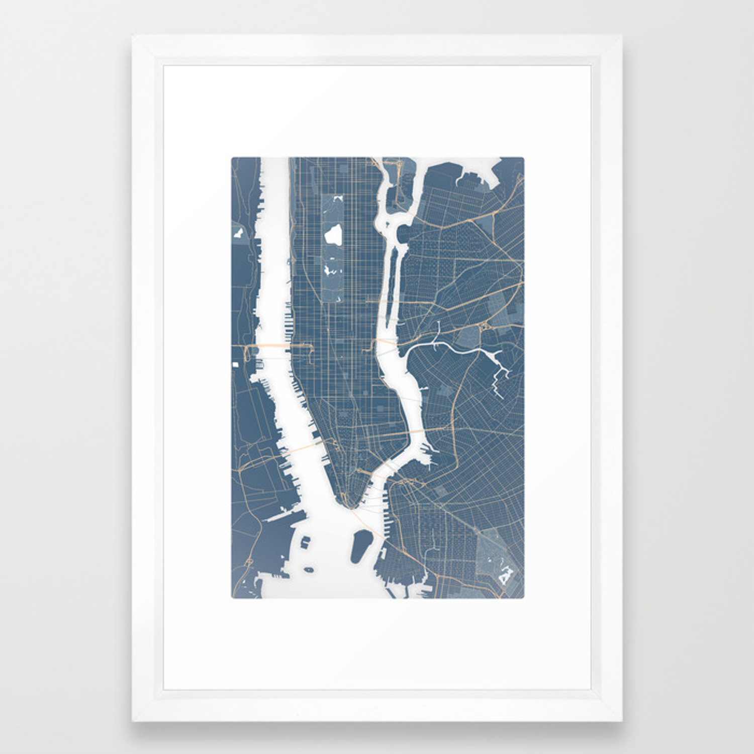 Framed New York Subway Map.New York City Detailed Road Subway Map Framed Art Print