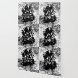 chair at lost place splatter watercolor black white Wallpaper