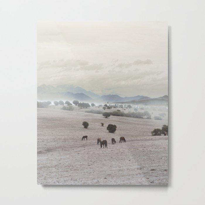 Landscape & Horses II Metal Print