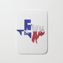Texas Typographic Flag Map Art Bath Mat
