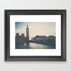 sunset over the city ... Framed Art Print