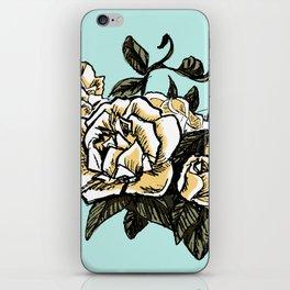 White Rose Motif in Mint iPhone Skin