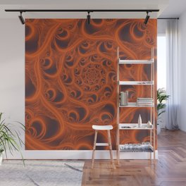 Fractal Web in Halloween Orange Wall Mural