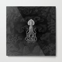 Squid1 (Black & White, Square) Metal Print