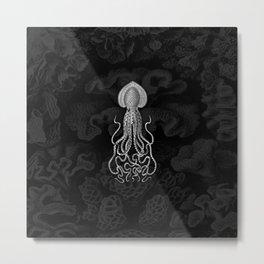 Squid1 (Black & White, Square) Metal Print
