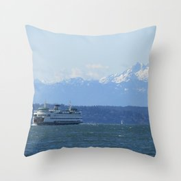 """""""Tacoma"""" Ferry and the Brothers Throw Pillow"""