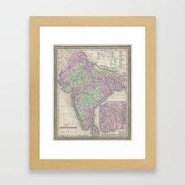 Vintage Map of India (1853) Framed Art Print