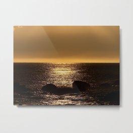 Bronze Sunset Reflection Metal Print