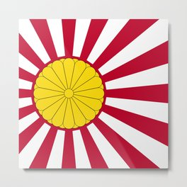 Japanese Flag And Inperial Seal Metal Print
