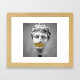 Marble Statue Gold Paint Stroke Framed Art Print