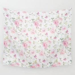 Elegant blush pink white vintage rose floral Wall Tapestry