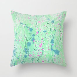 Spring Rain marbleized print Throw Pillow