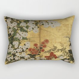 White Red Chrysanthemums Floral Japanese Gold Screen Rectangular Pillow