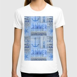 Blue Summer Beach Wood T-shirt