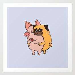 Friend Not Food Pug Art Print