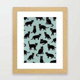 Black cats / Illustration / Pattern Framed Art Print