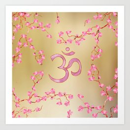 OM symbol  with gentle pastel pink flower tree branches Art Print