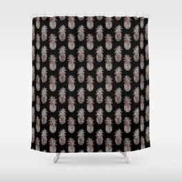 Rose Gold Sparkle effect Pineapple on black by Magenta Rose Designs Shower Curtain