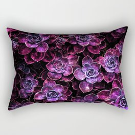Space Succulents Sparkle Magenta Purple Rectangular Pillow