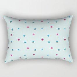 Cupcake, Flower, Bird Pattern Rectangular Pillow
