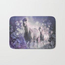 Blue Wild Horses Mixed Media Art Bath Mat