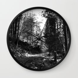 Forest black and white 15 Wall Clock