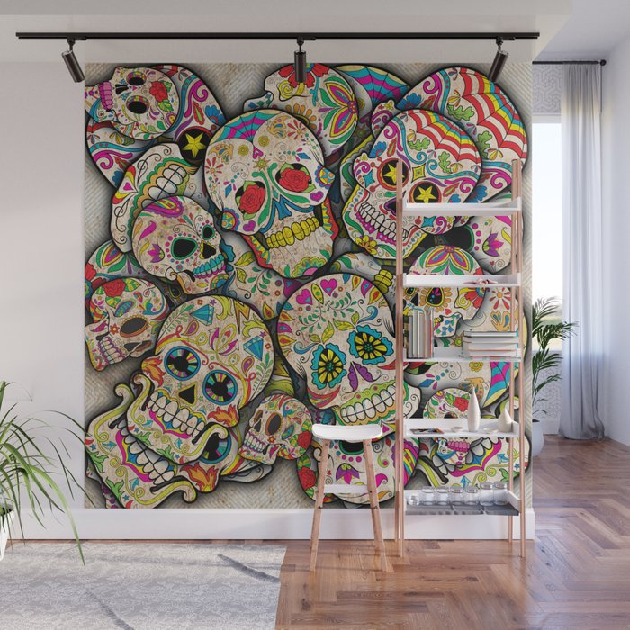 Sugar Skull Collage Wall Mural