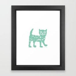 Mint cat drawing, cat drawing Framed Art Print