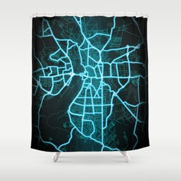Halle, Germany, Blue, White, Neon, Glow, City, Map Shower Curtain