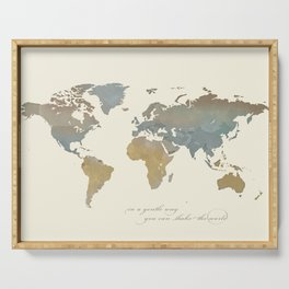 World Map with Dalai Lama Quote Serving Tray