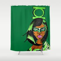 green lantern Shower Curtains featuring Green Lantern by N3RDS+INK