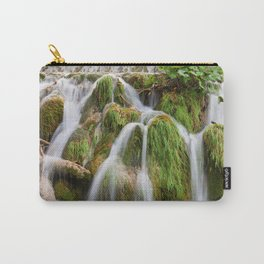 Grassy Waterfall With Tree Trunk Carry-All Pouch